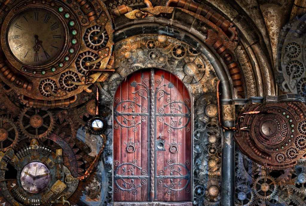Large wooden door surrounded by clocks