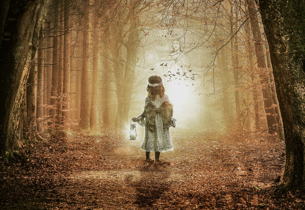 Girl with lantern sees angel in woods